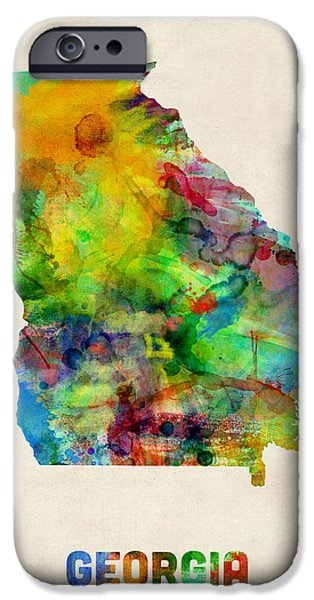 Geography iPhone Cases - Georgia Watercolor Map iPhone Case by Michael Tompsett