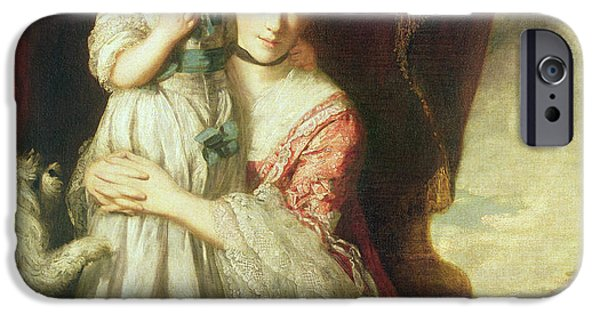 Duchess Photographs iPhone Cases - Georgiana, Countess Spencer With Lady Georgiana Spencer, 1759-61 Oil On Canvas iPhone Case by Sir Joshua Reynolds
