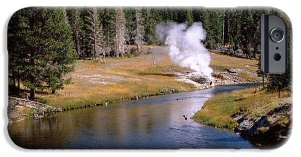 Yellowstone National Park iPhone Cases - Geothermal Vent On A Riverbank iPhone Case by Panoramic Images
