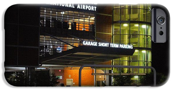 Overhang Digital iPhone Cases - Gerald R Ford Airport In The Black Of Night iPhone Case by Rosemarie E Seppala