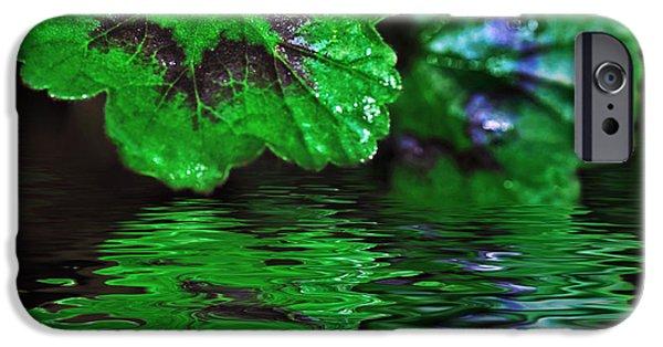Floral Digital Art Digital Art iPhone Cases - Geranium Leaves - Reflections on Pond iPhone Case by Kaye Menner