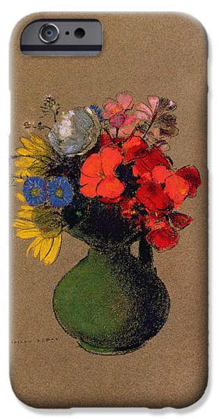 Flower Of Life Pastels iPhone Cases - Geraniums and flowers of the field iPhone Case by Odilon Redon