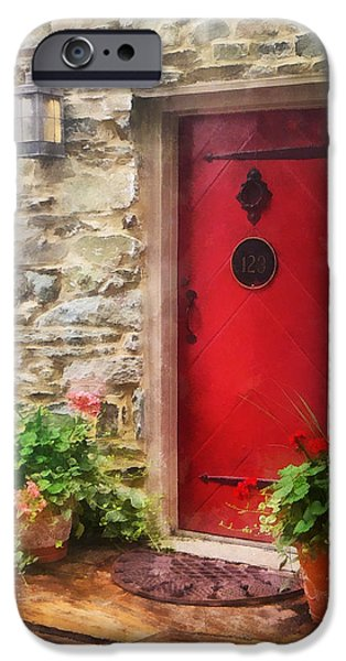 Geraniums by Red Door iPhone Case by Susan Savad