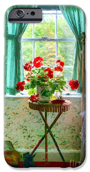 Nineteenth iPhone Cases - Geraniums in the Bedroom iPhone Case by Nikolyn McDonald