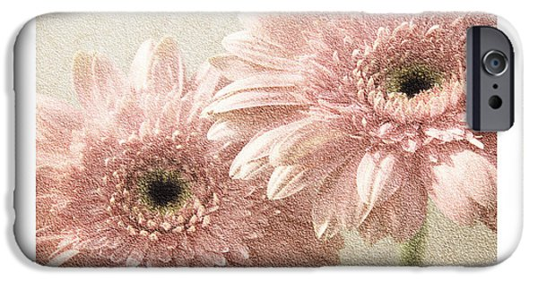 Flora Mixed Media iPhone Cases - Gerber Daisy Love 3 iPhone Case by Andee Design