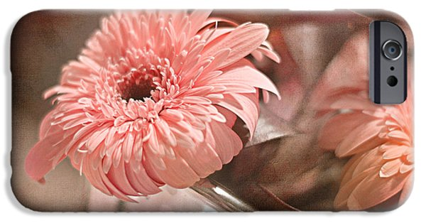 Close Up Floral Pyrography iPhone Cases - Gerbera Blush iPhone Case by Robin Koza