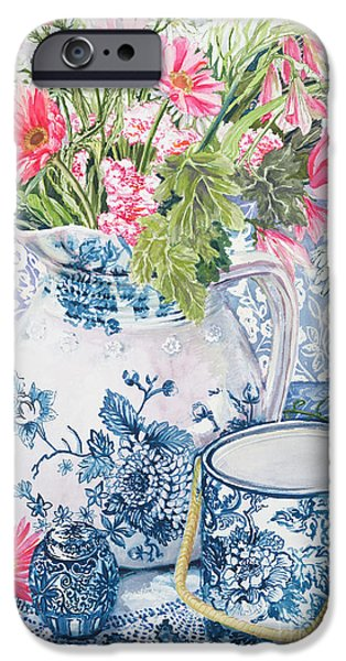 White Cloth iPhone Cases - Gerberas in a Coalport Jug with Blue Pots iPhone Case by Joan Thewsey