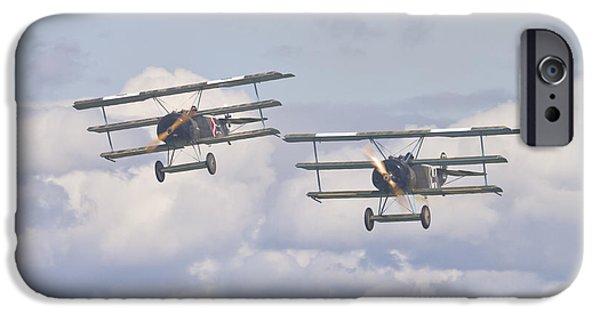World War One iPhone Cases - German Fokker Fighters iPhone Case by Maj Seda