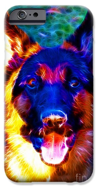 Puppy Digital Art iPhone Cases - German Shepard - Electric iPhone Case by Wingsdomain Art and Photography