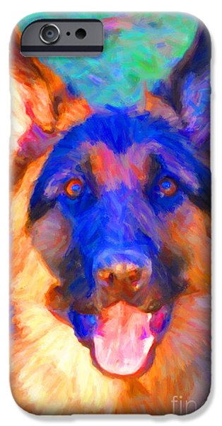 Puppy Digital Art iPhone Cases - German Shepard - Painterly iPhone Case by Wingsdomain Art and Photography
