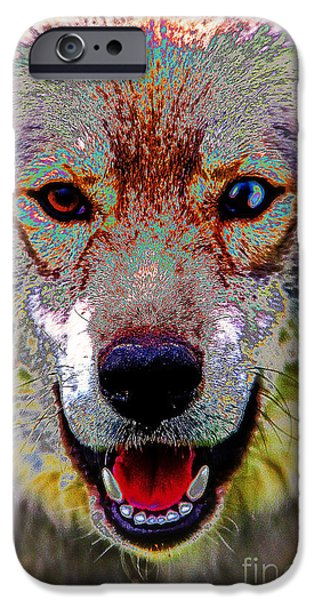 Husky Mixed Media iPhone Cases - German Shepard - Siberian Husky iPhone Case by Michael Braham