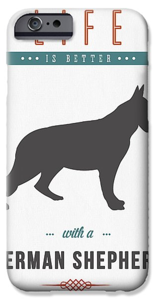 Canine Mixed Media iPhone Cases - German Shepherd 01 iPhone Case by Aged Pixel