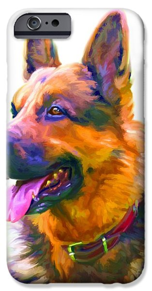 Cute Puppy Pictures Digital Art iPhone Cases - German Shepherd Art iPhone Case by Iain McDonald