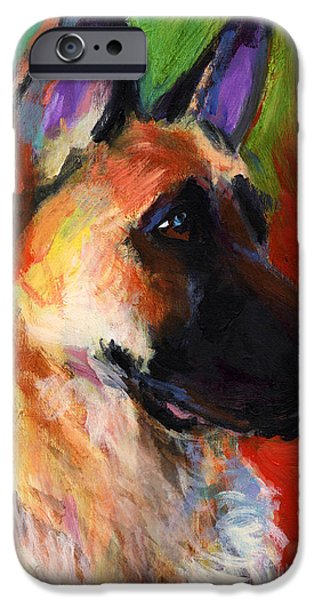 Animal Drawings iPhone Cases - German Shepherd Dog portrait iPhone Case by Svetlana Novikova