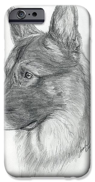 Police Art Drawings iPhone Cases - German Shepherd iPhone Case by Lorah Buchanan