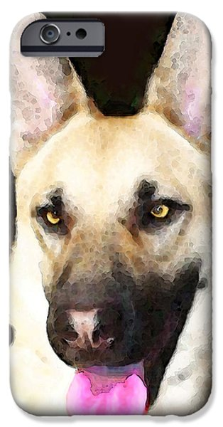 Dogs Digital Art iPhone Cases - German Shepherd - Lover iPhone Case by Sharon Cummings