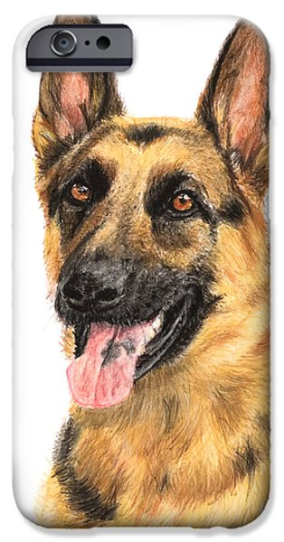 Police Pastels iPhone Cases - German Shepherd Painting Portrait  iPhone Case by Kate Sumners