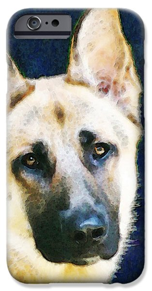 Dogs Digital Art iPhone Cases - German Shepherd - Soul iPhone Case by Sharon Cummings