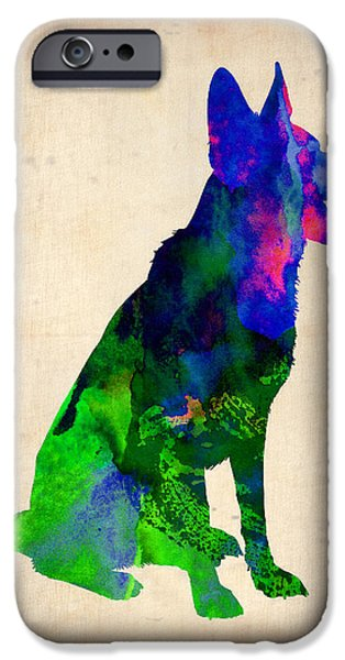 Cute Puppy iPhone Cases - German Sheppard Watercolor iPhone Case by Naxart Studio