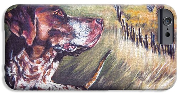 Dogs iPhone Cases - German Shorthaired Pointer and Pheasants iPhone Case by L A Shepard