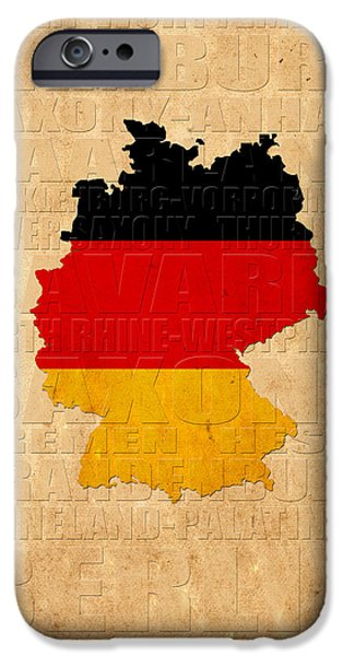 Map Of Germany iPhone Cases - Germany iPhone Case by Andrew Fare