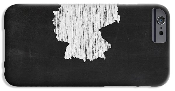 Germany Map iPhone Cases - Germany Chalk Map iPhone Case by Finlay McNevin