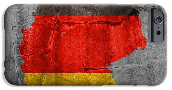 Germany iPhone Cases - Germany Flag Country Outline Painted on Old Cracked Cement iPhone Case by Design Turnpike