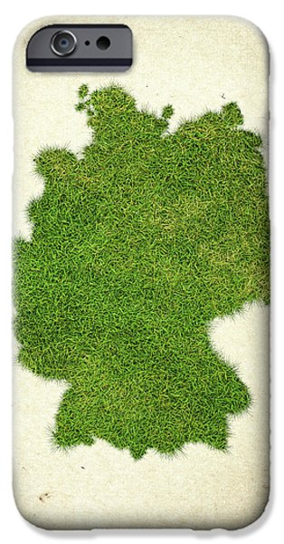 Map Of Germany iPhone Cases - Germany Grass Map iPhone Case by Aged Pixel