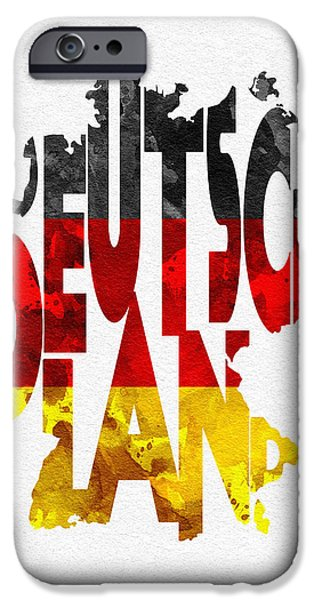 Map Of Germany iPhone Cases - Germany Typographic Map Flag iPhone Case by Ayse Deniz