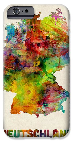 Map Of Germany iPhone Cases - Germany Watercolor Map Deutschland iPhone Case by Michael Tompsett