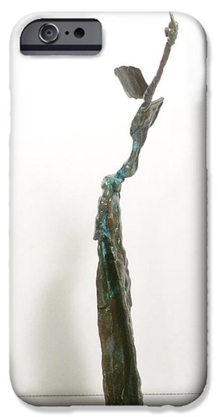 Figure Sculptures iPhone Cases - Gestures of Geronimo iPhone Case by Janet  Lipp