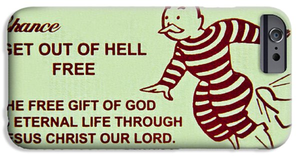 Atonement iPhone Cases - Get Out Of Hell Free iPhone Case by Reid Callaway