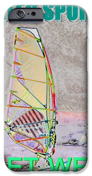 Wind Surfing Art iPhone Cases - Get Wet Water Sports iPhone Case by David Lee Thompson