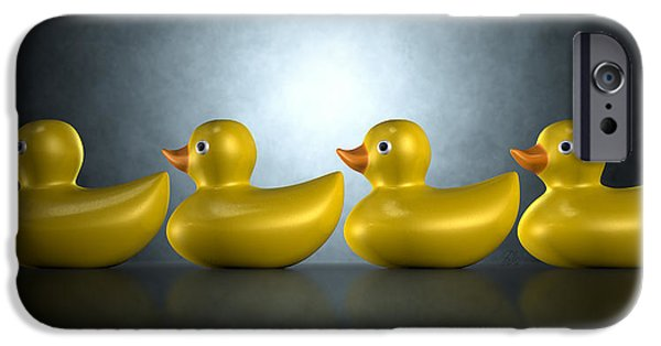 Bath Digital Art iPhone Cases - Get Your Ducks In A Row iPhone Case by Allan Swart