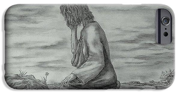 Jesus Drawings iPhone Cases - Gethsemane iPhone Case by Pamela Blayney