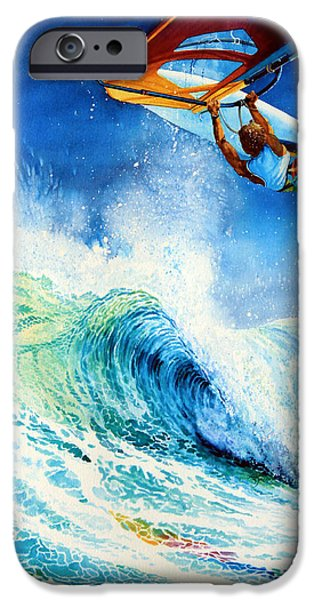 Wind Surfing Art iPhone Cases - Getting Air iPhone Case by Hanne Lore Koehler