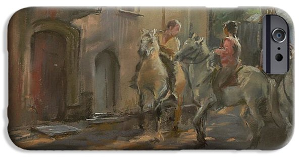 Anticipation iPhone Cases - Getting Ready For The Bull Run, 2009 Pastel On Paper iPhone Case by Pat Maclaurin