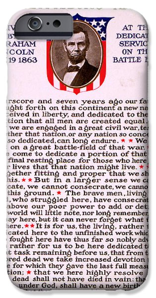 Gettysburg Address iPhone Cases - Gettysburg Address by Abraham Lincoln  iPhone Case by M T Sheahan