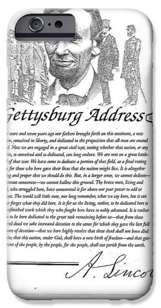 Patriotic Art Drawings iPhone Cases - Gettysburg Address iPhone Case by Richard Johns