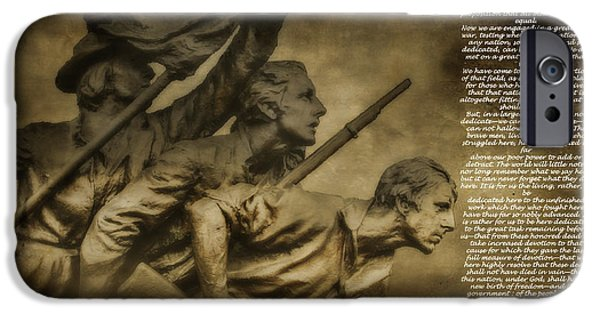 Statue Of Confederate Soldier iPhone Cases - Gettysburg Address with North Carolina Monument iPhone Case by Randy Steele