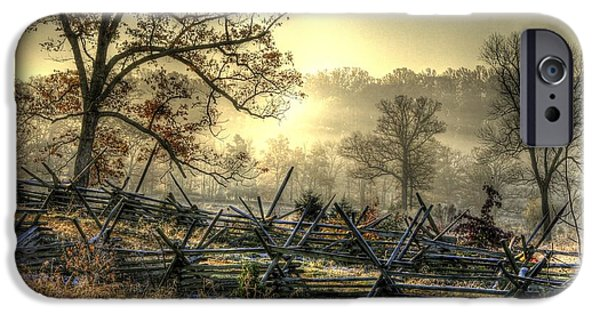 War iPhone Cases - Gettysburg at Rest - Sunrise Over Northern Portion of Little Round Top iPhone Case by Michael Mazaika