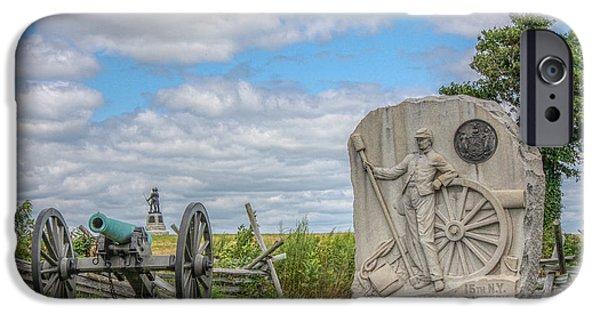 Battle Of Gettysburg Digital iPhone Cases - Gettysburg Battlefield 15th NY Battery Cannon  iPhone Case by Randy Steele
