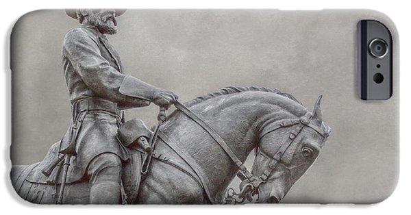 Battle Of Gettysburg Digital iPhone Cases - Gettysburg Battlefield General Statue iPhone Case by Randy Steele