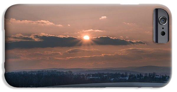 Gettysburg Digital iPhone Cases - Gettysburg Battlefield Sunset in Winter iPhone Case by Bill Cannon