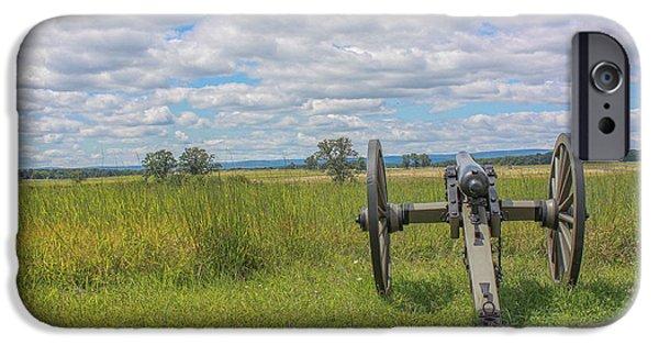 Battle Of Gettysburg Digital iPhone Cases - Gettysburg Summer Cannon Cemetery Ridge iPhone Case by Randy Steele