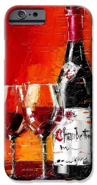 Table Wine iPhone Cases - Gevrey-Chambertin iPhone Case by Mona Edulesco