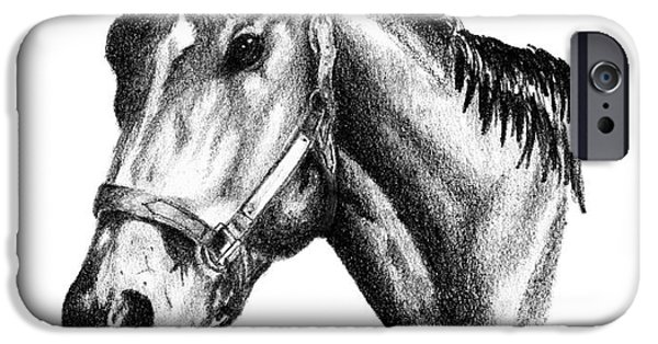 Kentucky Derby Drawings iPhone Cases - Ghazibella Thoroughbred Racehorse Filly iPhone Case by J M Lister