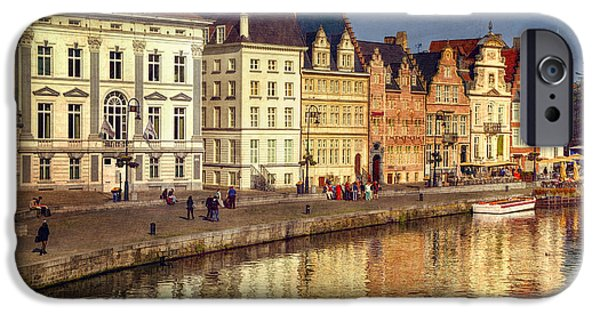 River iPhone Cases - Ghent Waterfront iPhone Case by Joan Carroll