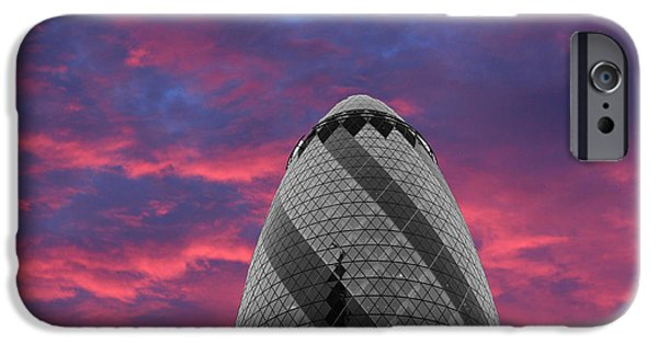 Citylife iPhone Cases - Gherkin London iPhone Case by Martin Newman