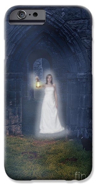 Night Lamp iPhone Cases - Ghost At The Abbey iPhone Case by Amanda And Christopher Elwell